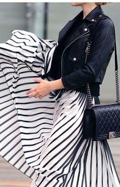 White stripped maxi skirt