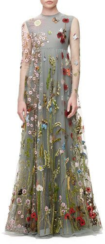 Valentino Floral-Embroidered Tulle Empire-Waist Gown, Gray   <>  @kimludcom
