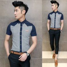 Trendy 2014 Man Summer Tops Fashion Plaid Splicing Asian Slim Shirt Charming Men Clothing Wholesale $26.58