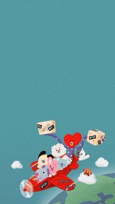 Wallpaper Iphone Disney, Kawaii Wallpaper, Bts Wallpaper, Bts Backgrounds, Line Friends, Bts Chibi, Cute Cartoon Wallpapers, Bts Lockscreen, Bts Jungkook