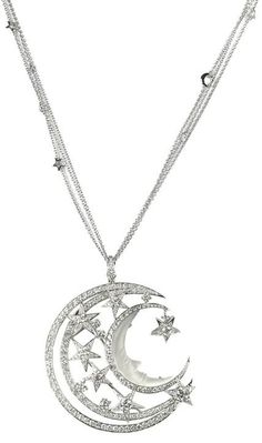 Stephen Webster Couture Midnight Over the Caspian Sea NECKLACE - silver - moon and stars pendant - jewelry - fashion accessories