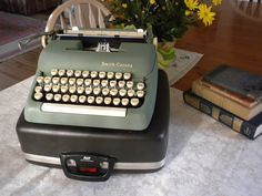 vintage Smith Corona typewriter - sage green - $99.00 - click for listing
