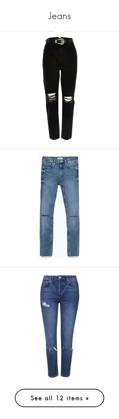 """Jeans"" by michelle-pereira ❤ liked on Polyvore featuring jeans, pants, bottoms, pantalones, trousers, river island, button-fly jeans, destructed jeans, tall jeans and cowboy jeans"