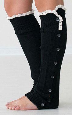Tall Socks - White Lace Trim on Black