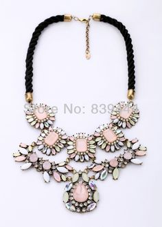 Fashion Jewelry Flower Crystal Black Rope Chain Necklace