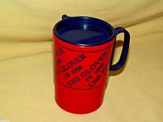 USS Glover Mug FF 1098 Plastic Travel Cup Lid Whirley Ind USA Red Blue Navy