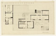 Ludwig Mies van der Rohe. Tugendhat House, Brno, Czech Republic, Second floor plan. 1928-30