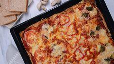Sonkás-szalámis kenyérppizza Recept képpel - Mindmegette.hu - Receptek Lidl, Lasagna, Pizza, Lunch, Breakfast, Ethnic Recipes, Food, Youtube, Morning Coffee