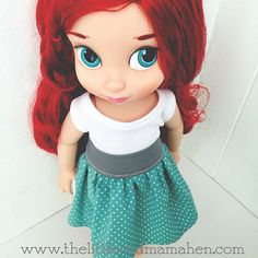 Ariel in a sweet polka dot skirt and tank top. Disney Animators Collection