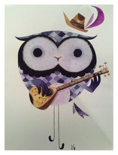 "Owl ""hibou boo"" painting by Calamitylynn"