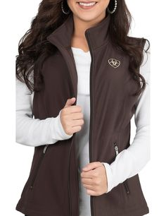 Ariat Women's Brown with Cream Logos Sleeveless Soft Shell Vest | Cavender's