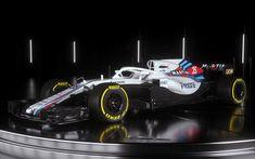 Download wallpapers Williams FW41, 2018, Formula 1, new racing car, HALO defense, new pilot protection, season 2018, F1, Williams