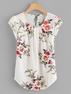 SheIn offers Petal Sleeve Florals Blouse & more to fit your fashionable needs. Plus Floral Print Cut Out Blouse -SheIn(Sheinside) Flower Print Keyhole Back Curved Hem Blouse -SheIn(Sheinside) Floral Asymmetrical Elegant Summer Blouse Women's Work Tops fo Floral Tops, Floral Blouse, Ditsy Floral, Floral Chiffon, Floral Lace, Fashion Online Shop, Fashion Websites, Fashion Stores, Petal Sleeve