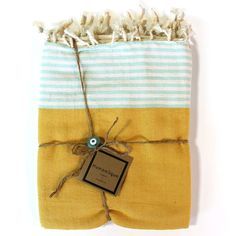 Hamamlique Organic & Hand-woven towels are an Eco-friendly, and multi-use towel. You can use it as a sarong, scarf, beach towel or even a tablecloth. Each towel is made in Turkey and is composed of 10