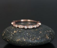 Stackable 14k Rose Gold and Diamond Wedding by Twoperidotbirds