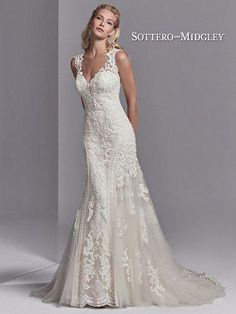 Sottero and Midgley Channing Rose - This wedding dress features striking lace motifs accented in beading atop tulle. Embroidered lace borders the tulle on either side of the fit-and-flare skirt. Featuring an illusion plunging sweetheart neckline, illusion Western Wedding Dresses, Luxury Wedding Dress, Sexy Wedding Dresses, Wedding Dress Shopping, Perfect Wedding Dress, Wedding Dress Styles, Bridal Dresses, Wedding Gowns, Rose Wedding