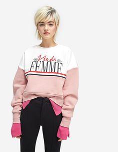 Printed sweatshirt with gem detail #stradivarius #fashion