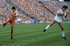 Van Basten (left) shows stunning technique to score the winning goal in the Euro 88 final against USSR