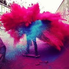 Happy holi wishesh 2020 holi greetings, holi quotes holi images for whatsapp. Festival of colors wish & holi messages . Make a splash this Holi . Street Art Utopia, Color Wars, War Paint, Paint Fight, Banksy, Photomontage, Looks Cool, Explosions, Belle Photo