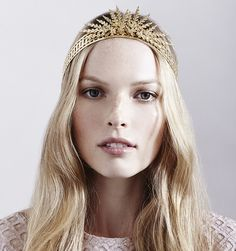 Golden Tiara: the Margaritte Tiara by Jennifer Behr, available at…