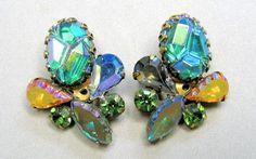 Schiaparelli Carnival Glass Lava Stone Earrings | eBay