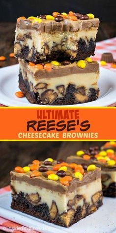 Ultimate Reese's Cheesecake Brownies - swirls of peanut butter and chocolate and.Ultimate Reese's Cheesecake Brownies - swirls of peanut butter and chocolate and lots of Reese's candies turn these cheesecake bars into the best brownies ever! Cheesecake Brownies, Chocolate Cheesecake Recipes, Best Brownies, Brownie Recipes, Reese Cheesecake, Reeses Candy Recipe, Reese's Brownies, Brownie Ideas, Homemade Cheesecake