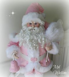 Beautiful large Porcelain Santa Claus made over in Pink <3