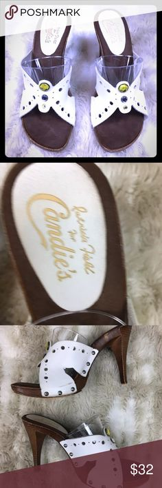 "Patricia Field Candie's White Butterfly sandal Patricia Field For Candie's White Butterfly Gem Leather 39 Mules Heels Italy  Lightly worn overall great shape  9 3/4"" foot bed  Fits like true 7.5 Candie's Shoes Heels"