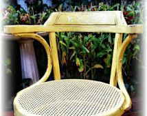 distressed chair, shabby chic chair, vintage chair, rattan, handpainted yellow chair,  country cottage chair, rustic chair, yellow chair