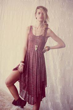 Love the braid and the geometric jewelry! | #fashion #dress