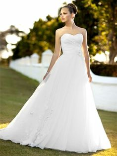 A-line Sweetheart Organza Satin Sweep Train Appliques Wedding Dresses