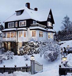 Winter, house, snow, cosy, winter wonderland.