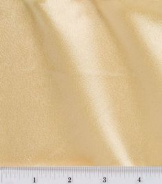 """Gold Crepe Back Satin, Joann's Fabrics #6685010 54"""" wide, also available in Ivory, White, Wine and a deep Chocolate. $6.29/yd Advantage: reversible for two textures in same color."""