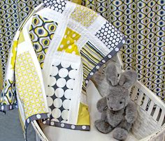 Michael Miller Fabrics' Citron-Gray Nursery: Patchwork Baby Quilt with Monogram | Sew4Home