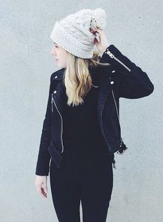 knitted beanie + leather jacket
