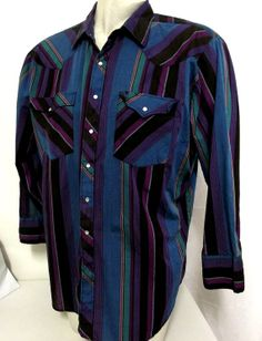 Pearl Snap Western Shirt  Purple Teal Blue by honeyblossomstudio, $12.00