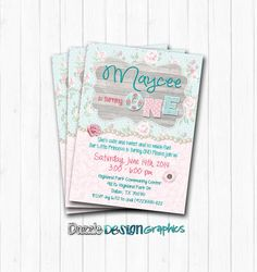 Shabby Chic Birthday Party Coordinating Printable package, Invitation, water bottle labels, more, pa Shabby Chic Birthday Party Ideas, Birthday Party Themes, Birthday Invitations, Girl Birthday, Birthday Stuff, Birthday Ideas, Shabby Chic Invitations, Elegant Invitations, Teal And Grey