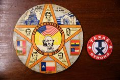 A large commemorative button from the Texas Centennial Exposition in 1936, with the 2017 Texas Strong button for contrast.(Rose Baca/Staff Photographer)