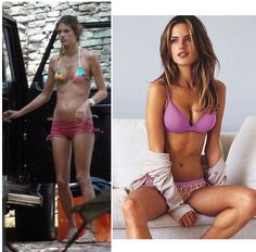 Un-airbrushed vs. airbrushed Alessandra Ambrosio.