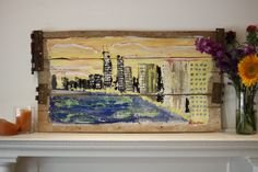 Sunset on Lake Shore Drive artist Micah Sawinski made this painting on urban mid-century wood from a torn down house on the west side of Chicago, built before 1950. www.pickedwithpurpose.com