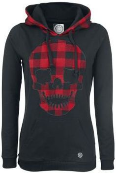 """Hooded sweater by R.E.D. by EMP:  - hood with drawstring made of checked upper material and black lining - checked skull applications on the front - checked elbow patches - front pocket - silicone label - soft neck label - small ribbed cuffs  No matter if it's a hot summer night, autumn, winter or spring - a hoodie is always great to wear. EMP offers the black """"Checkered Detail"""" girls hoodie by R.E.D. by EMP: The hoodie features a large skull application with red/black chec..."""