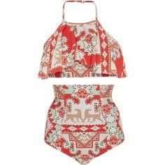 Adriana Degreas Tapestry Halter Bikini Set ($305) ❤ liked on Polyvore featuring swimwear, bikinis, swim, red, halter neck bikini, high waisted bikini swimwear, bandeau bikini tops, red high waisted bikini and halter bikini swimwear