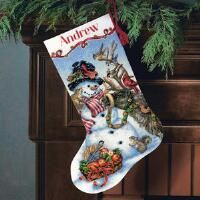 Dimensions® Snowman Gathering Stocking Counted Cross-Stitch Kit