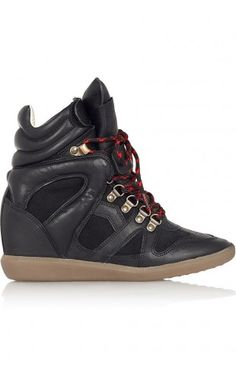 Isabel Marant Étoile Buck Leather And Suede Wedge Sneakers Black