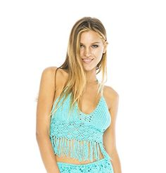 Back From Bali Sexy Crochet Halter Top with fringe in comfy 100% cotton.  Midriff fringe swings and moves providing flirty coverage with just a glimpse of your belly. A great bikini top too. Or pair with cut offs or jeans