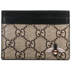 a8b0fc244f3 Gucci Bee Print Gg Supreme Card Case ( 270) ❤ liked on Polyvore featuring  bags. Gucci Mens WalletMens ...