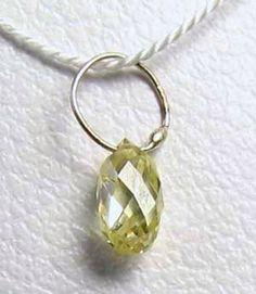 NATURAL Canary CONFLICT FREE Diamond & 18K GOLD PENDANT .27 ct 6568Q1 - Premium Bead
