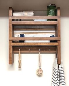 The Virginia Kitchen Shelf - Kitchen Shelves and Wall Mount Spice Rack - Wood and Spool Modern Grey Kitchen, Grey Kitchen Designs, Modern Kitchen Cabinets, Green Kitchen, Minimalist Kitchen, Rustic Kitchen, Diy Kitchen, Kitchen Gadgets, Kitchen Ideas