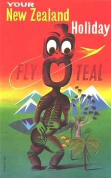 Vintage Travel Poster  - Your New Zealand Holiday - Fly Teal.