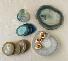 Agate Plates & Coasters :: Cut and polished from raw Brazilian stones, these exquisite agates form when water flows through lava holes